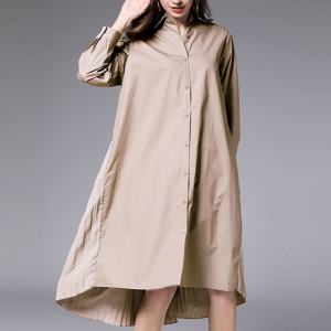 Pleated Back Knee Length Loose Shirt Dress