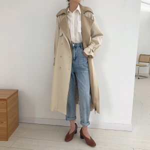 Double Lapel Collar Sashe Women's Trench Coat