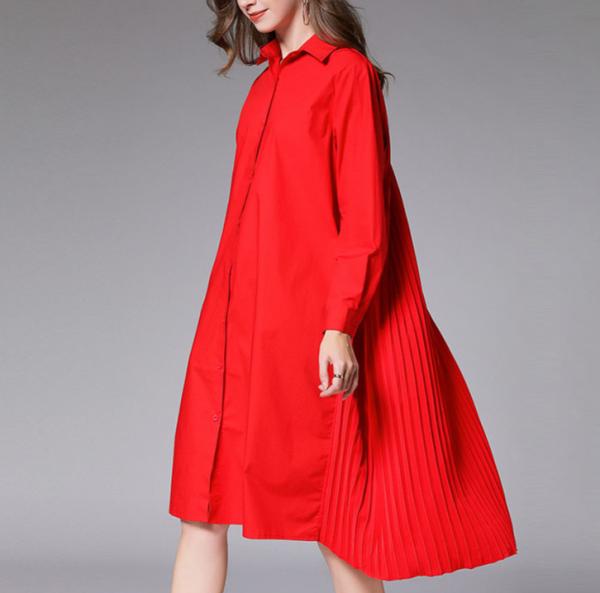 Pleated Back Knee Length Loose Shirt Dress