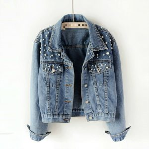 Denim Jacket with Short Lapel Featuring Buttons and Pearls