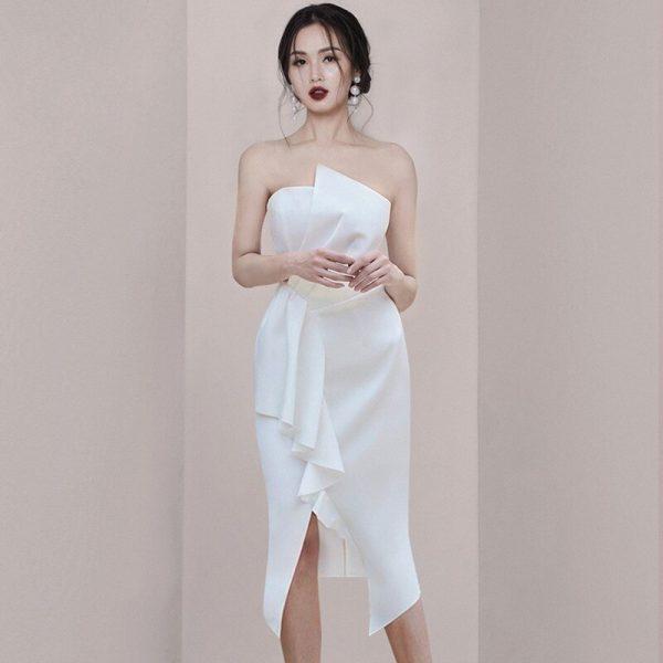 Formal Strapless Ruffle Split Dress