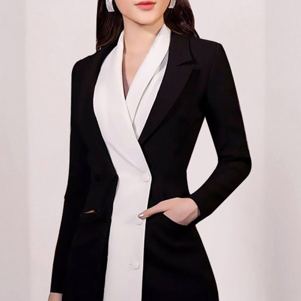 Color block Notched Blazer