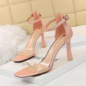 women sandals 2020 Summer high heels femmes sandales fashion transparent PVC heels Female Ankle Buckle strap sandalias heels