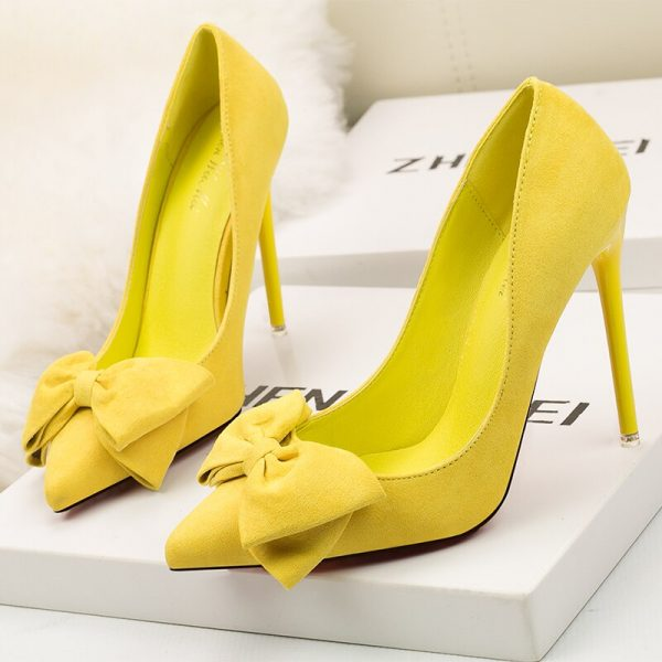 Butterfly-knot pink sweet Pointed Toe Pumps