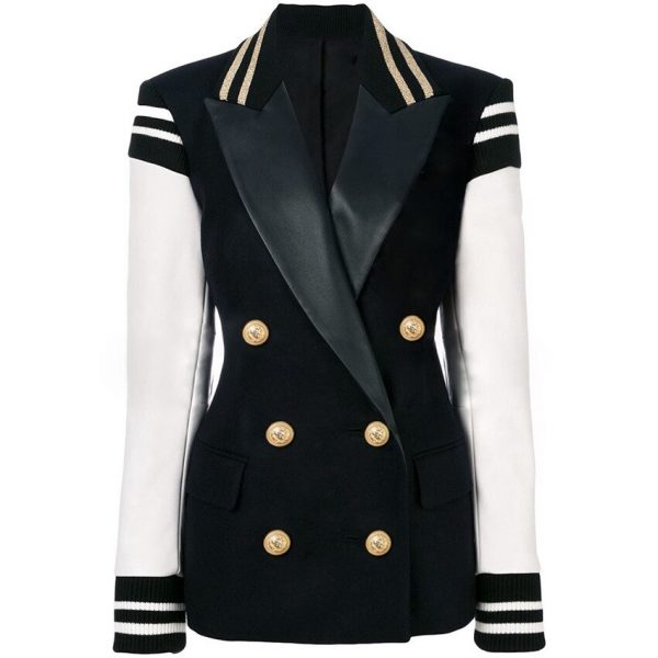 Loose Fit Leather Patchwork Jacket