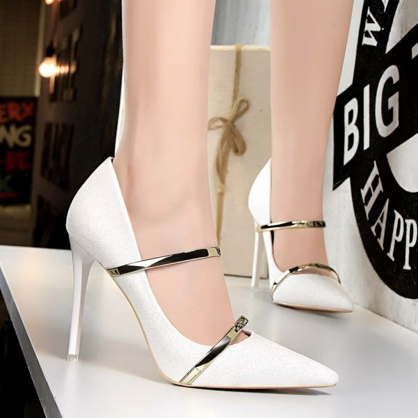 Pointed Toe High Heels Pumps with Bling Strap