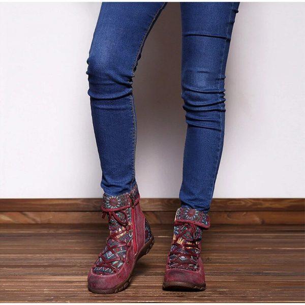 Women's Retro Bohemian Style Ankle Zip Short Boots