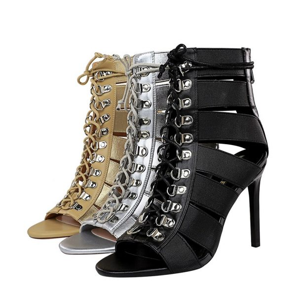 Long Gladiator Sandal Boots with Cross Tied Lace Up