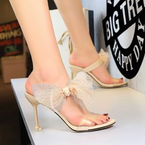 Lace Bow Knot Transparent Sandals