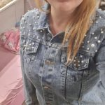Denim Jacket with Short Lapel Featuring Buttons and Pearls photo review