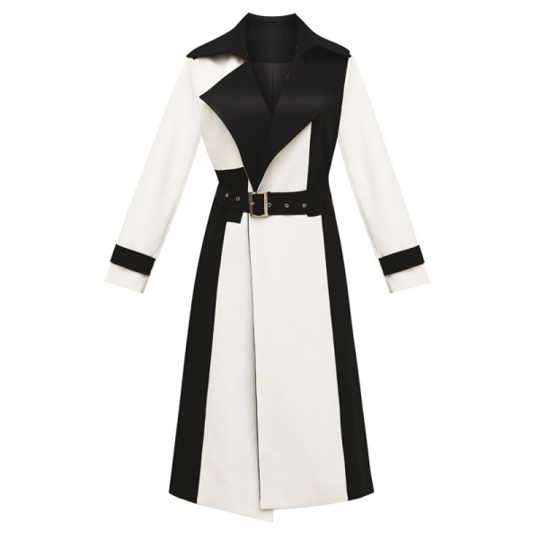 Long Woolen Coat with Sashes Slim Lapel Collar