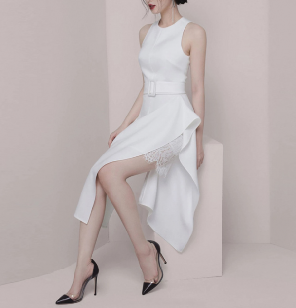 Banquet Temperament Ruffle & Split Side Dress