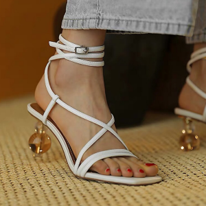 Ankle Strap Transparent Crystal Heel Sandals