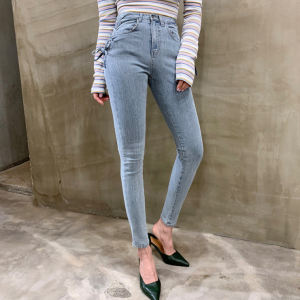 Chic Streetwear Lace-up Skinny Denim Jeans