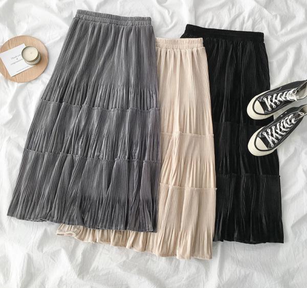 A-line Velvet Skirts