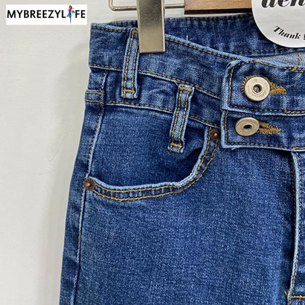 Stylish High Waist Double Button Denim Flare Jeans