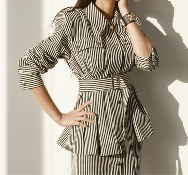 Striped Single-breasted Belted Jacket with Skirt Suit