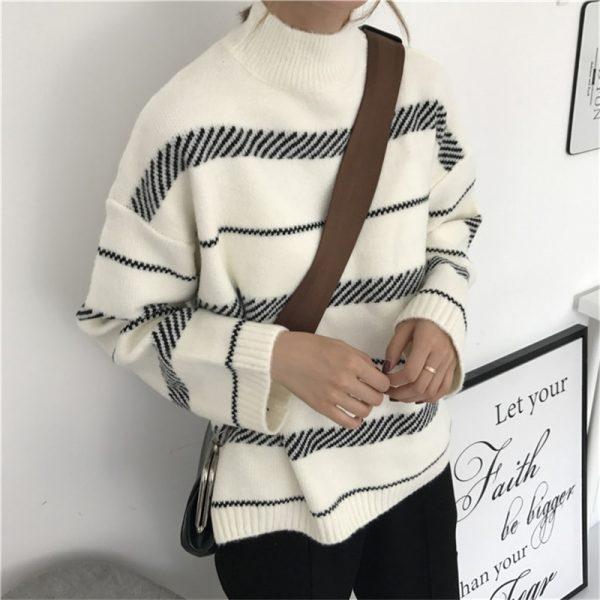 Half-turtleneck Minimalist Knitted Pullovers Elegant