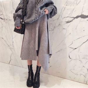 A-line Irregular Pleated Mid-calf Knitted Skirt