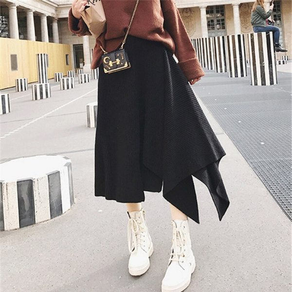 A-line Irregular Pleated Mid-calf Knitted Skirt