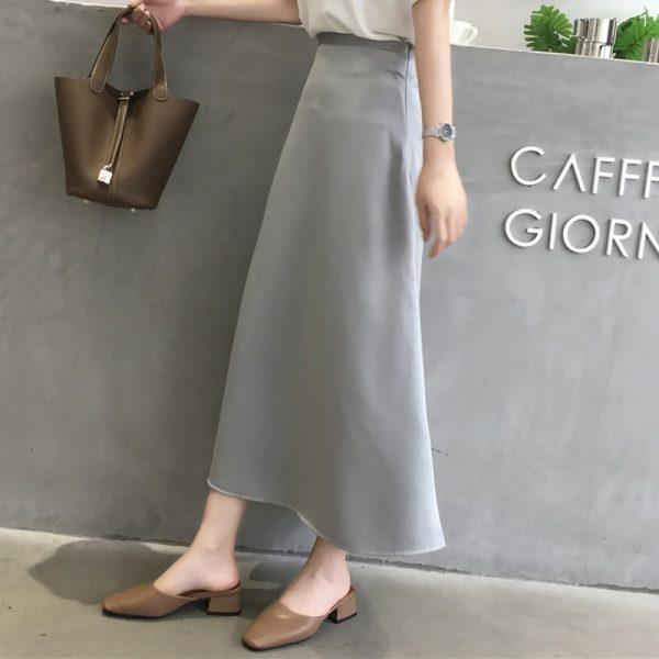 Elegant High Waist Zipper Mid-length Skirt