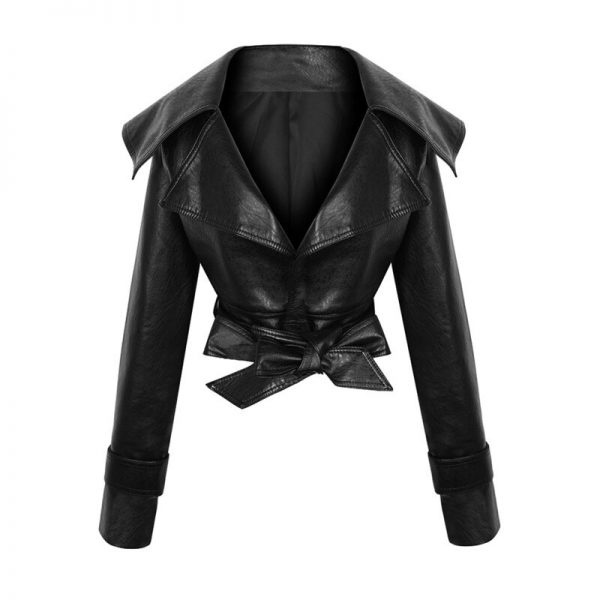PU Leather Coat with Tassel Bow
