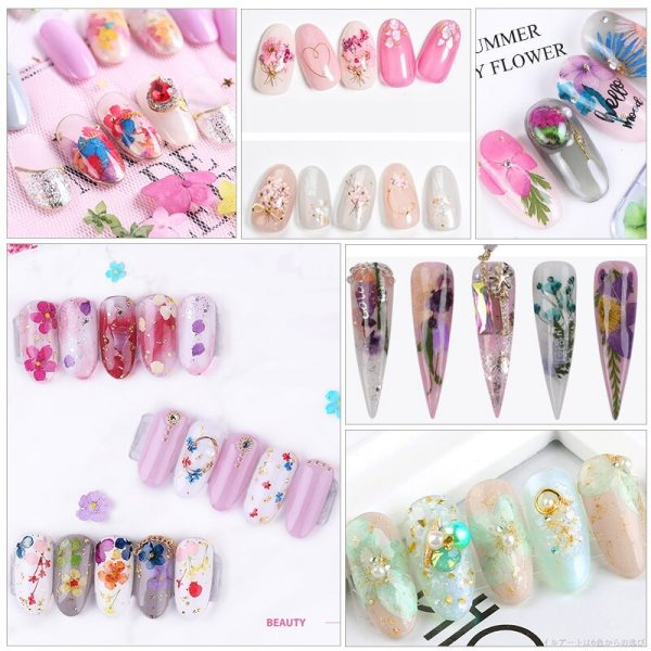 3D Dried Flower Nail Decoration