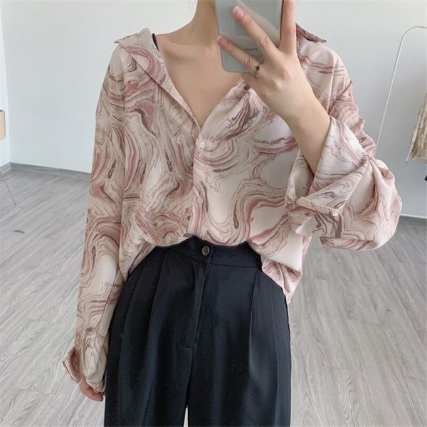 Abstract Pattern Turn-down Collar Chiffon Tops