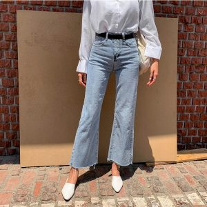 Vintage Loose Fly Wide Leg Denim Jeans