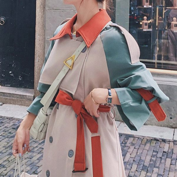 Women's Lapel Collar Trench Coat embellished with Tassel Belt