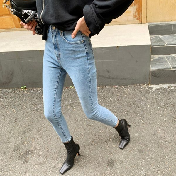 Skinny Fit High Waist Stretchable Denim Pencil Jeans
