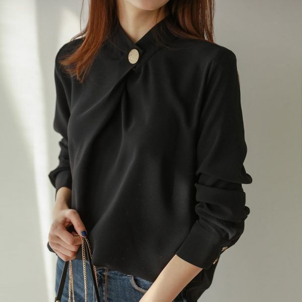 Formal Round Neck Long Sleeve Tops