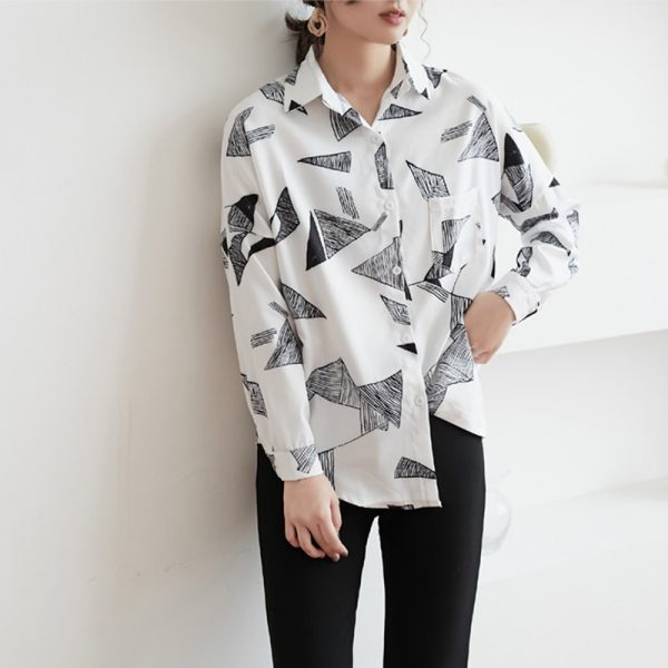 Geometric Pattern Chiffon Tops