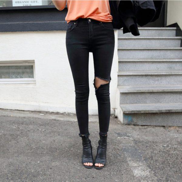 Irregular Stretch Ripped Skinny Denim Jeans