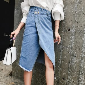 Casual High Waist Irregular Split Jeans Skirt