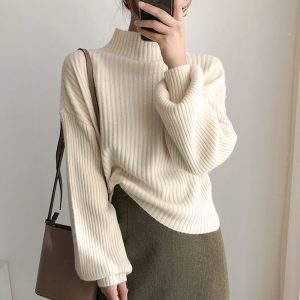 New Lantern Sleeve Turtleneck Loose Knitted Pullover