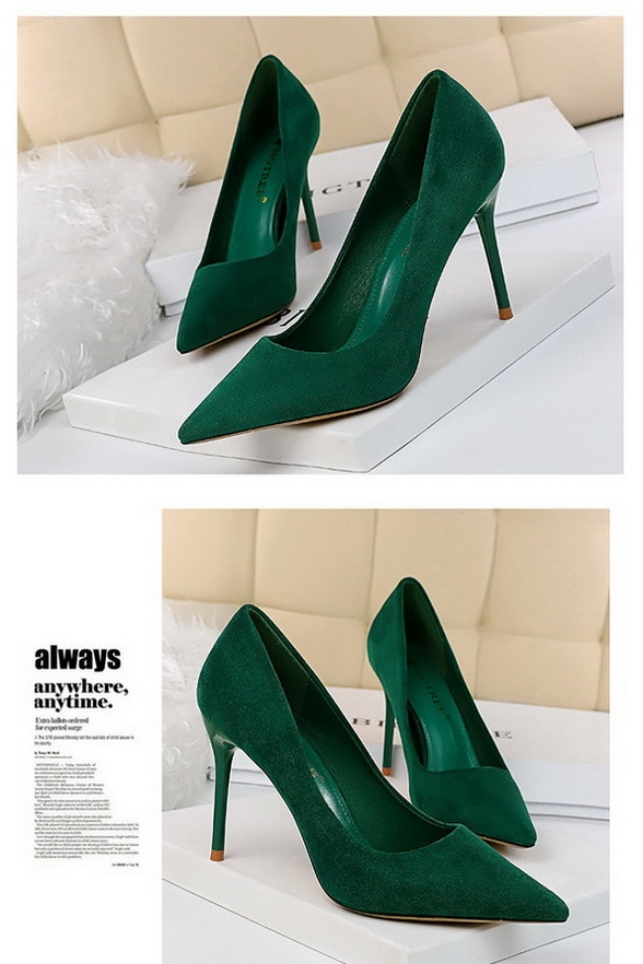Green Flocking Pumps