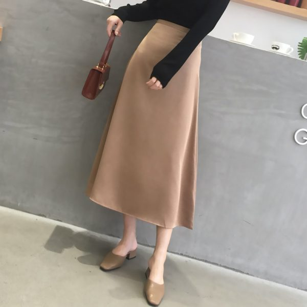 Elegant High Waist Zipper Mid-length Skirt
