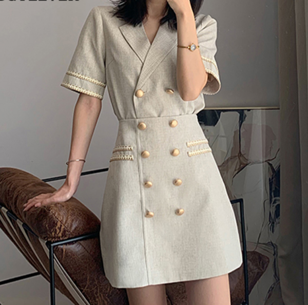 Double Breasted Notched Blazer with Skirt Suits