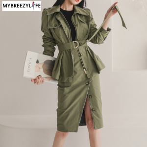 Army Green Zipper Jacket with Split Pencil Skirt Suit 2020