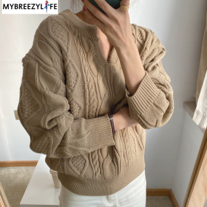 Thick Loose V-neck Knitted Pullover Sweaters
