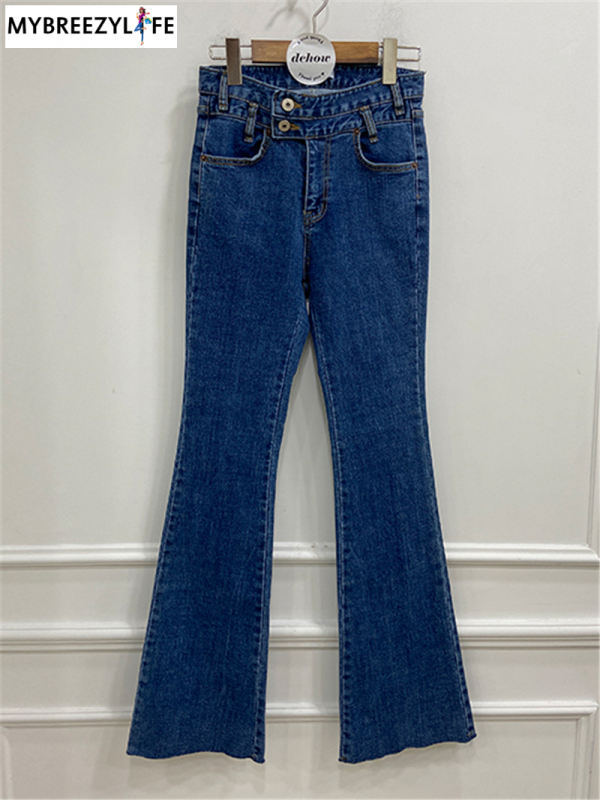Stylish High Waist Double Button Denim Flare Jeans